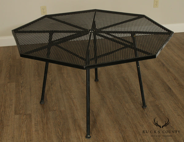 "Woodard Sculptura Mid Century Modern 48"" Octagon Wrought Iron Patio Dining Table"