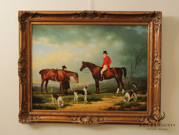 T. Fillans Equestrian Oil Painting English Hunt Scene