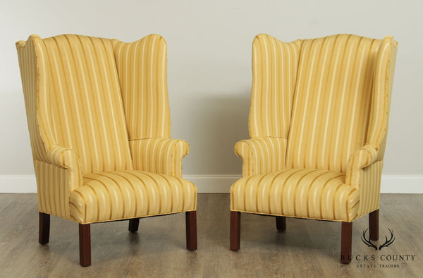 Chippendale Style Custom High Back Pair Wing Chairs