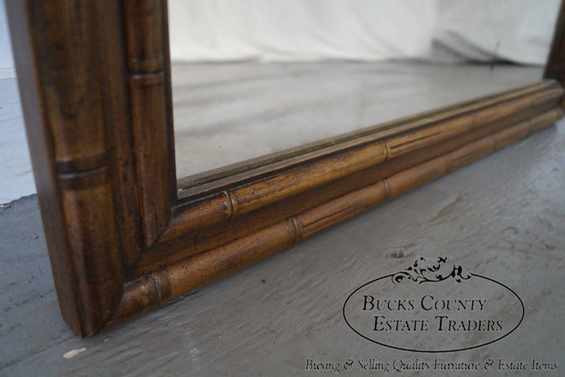 Vintage Walnut Faux Bamboo Frame Mirror