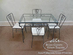 Vintage Wrought Iron 5 Piece Patio Table & Chairs Dining Set