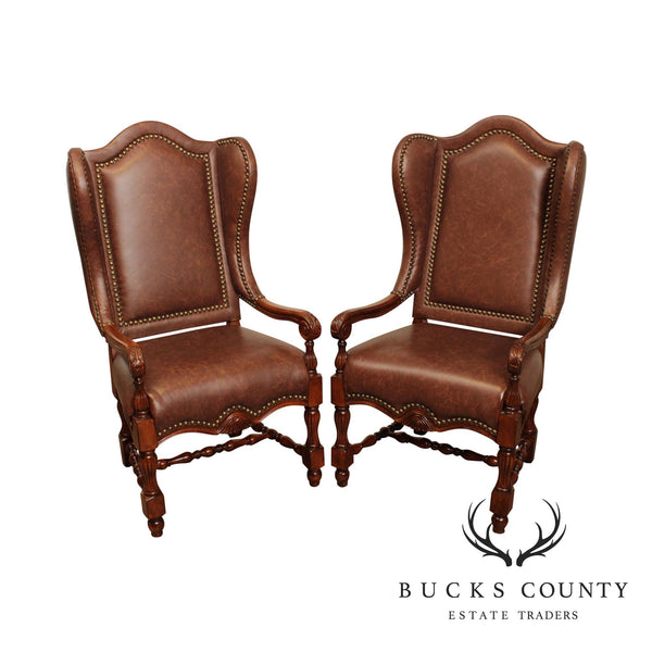 French Louis XIII Style Brown Leather Pair Wing Back Arm Chairs