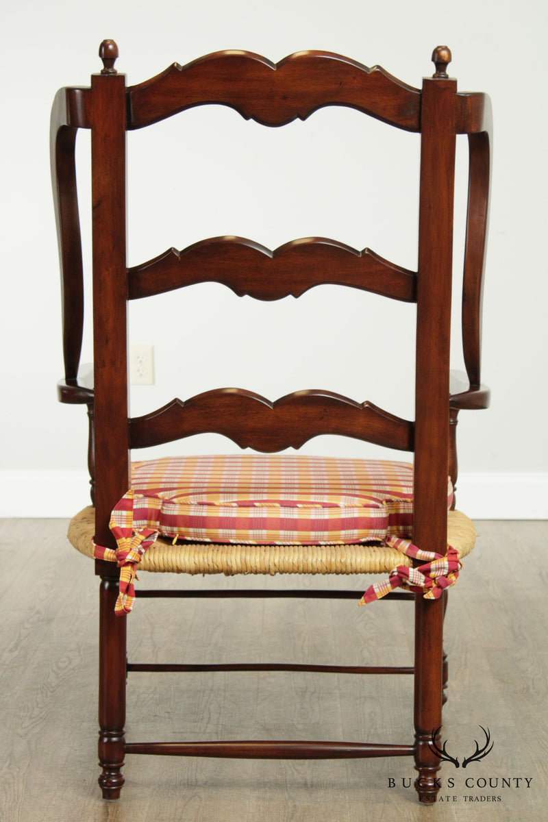 French Country Style Rush Seat Ladder Back Armchair
