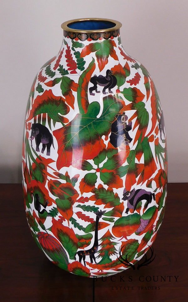 Asian Cloisonne Enameled Vase with Animals