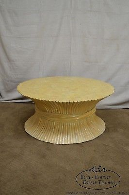 McGuire Style Mid Century Modern Round Wheat Sheaf Rattan Coffee Table