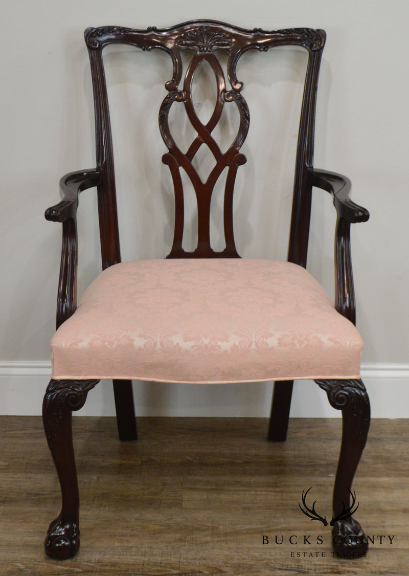 Kindel Chippendale Style Set 8 Mahogany Ball & Claw Dining Chairs
