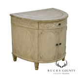 Drexel Heritage French Louis XVI Style Deep Demilune Paint Decorated Commode