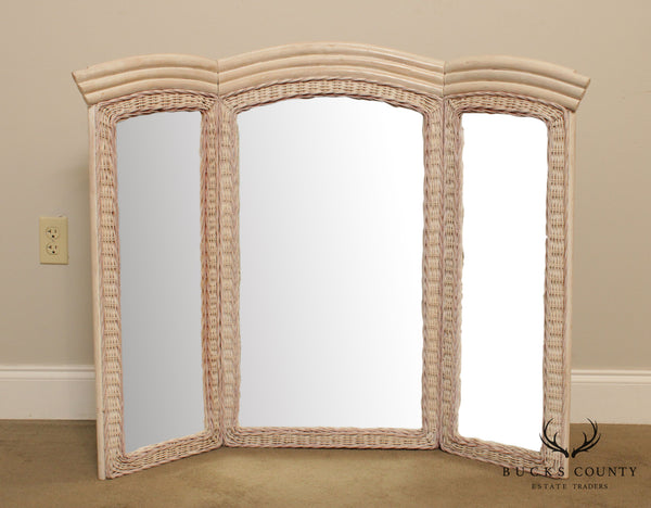 Vintage Painted Wicker Trifold Mirror