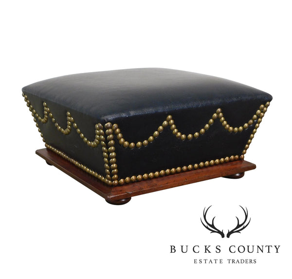 Antique Walnut Small Black Faux Leather Brass Studded Footstool