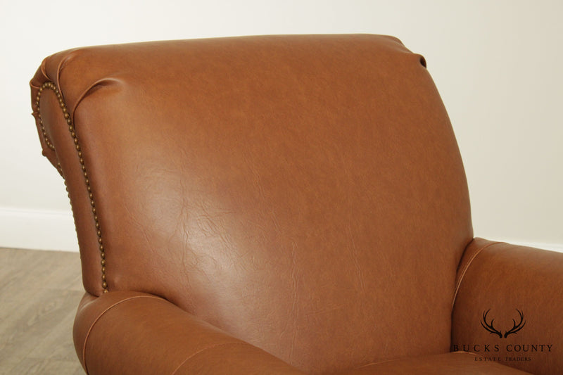 Quality Brown Faux Leather Lounge Chair with Ottoman