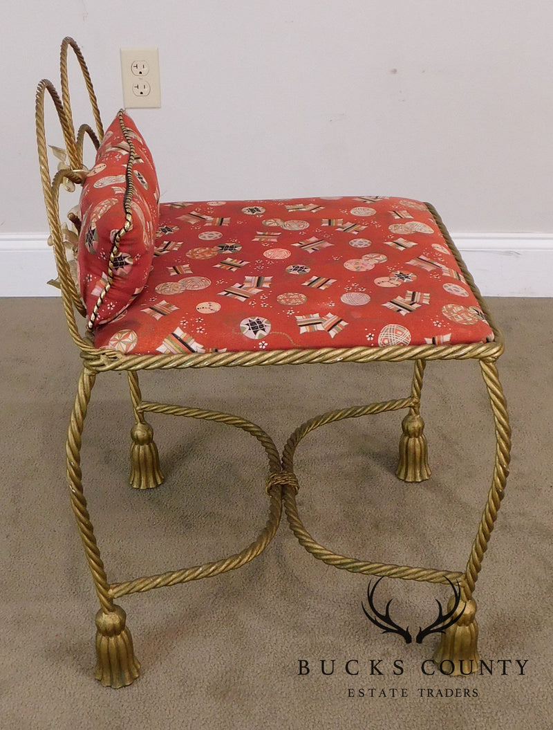 Hollywood Regency Italian Gilt Metal Rope and Tassel Vanity Stool