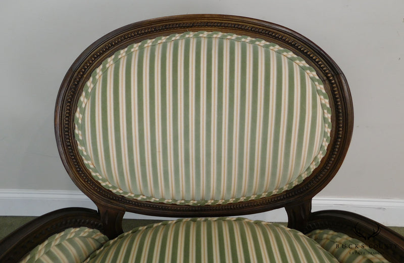 French Louis XVI Style Custom Quality Pair Bergere Chairs