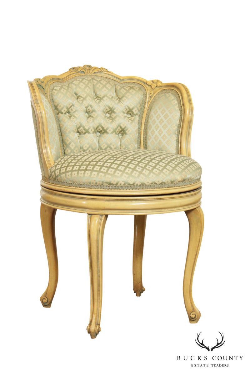 French Louis Xv Style Vintage Painted Swivel Upholstered Vanity Chair Bucks County Estate Traders