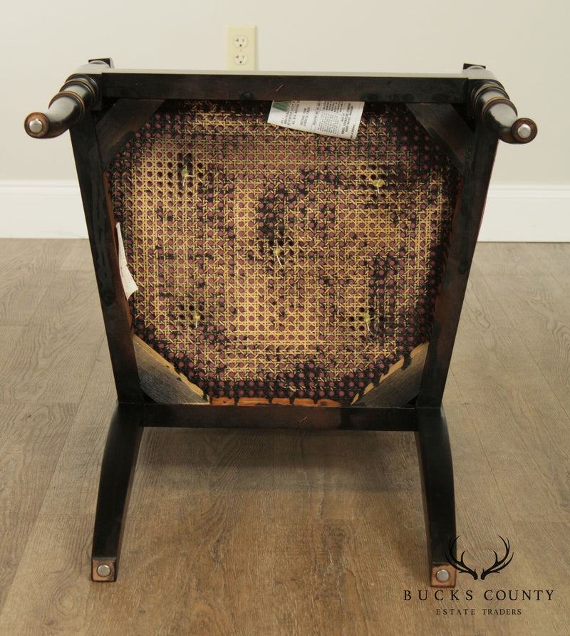 Kindel Regency Style Black and Gold Armchair