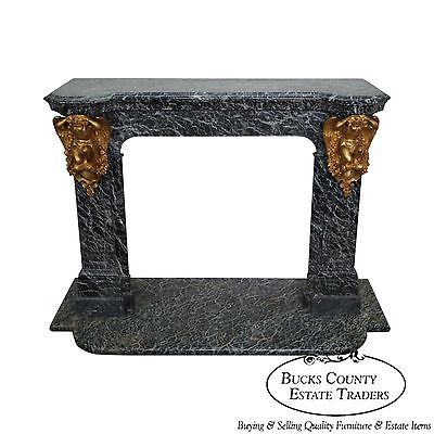 Exceptional Antique French Marble Mantel w/ Dore Gilt Bronze Cherubs