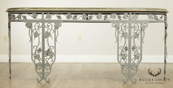 Vintage Wrought Iron Grapevine Marble Top Long Garden or Patio Console