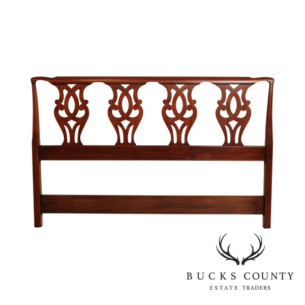 Henkel Harris Chippendale Style Cherry Queen Size Headboard