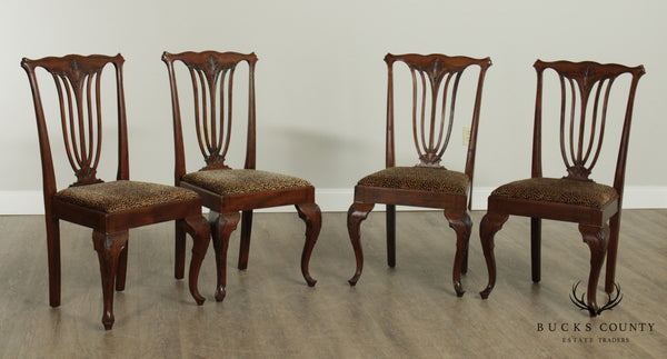 Antique Victorian Art Nouveau Set 4 Mahogany Dining Chairs