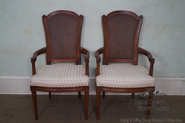 Henredon Vintage Pair of Walnut French Louis XVI Style Cane Back Arm Chairs