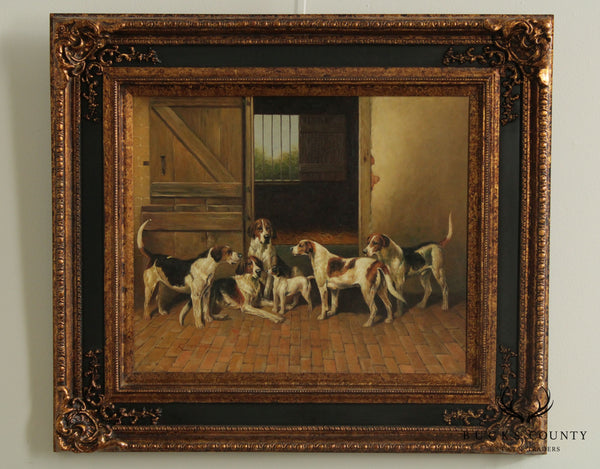 Timeless Treasures Framed Oil Painting on Canvas English Pointer Dogs