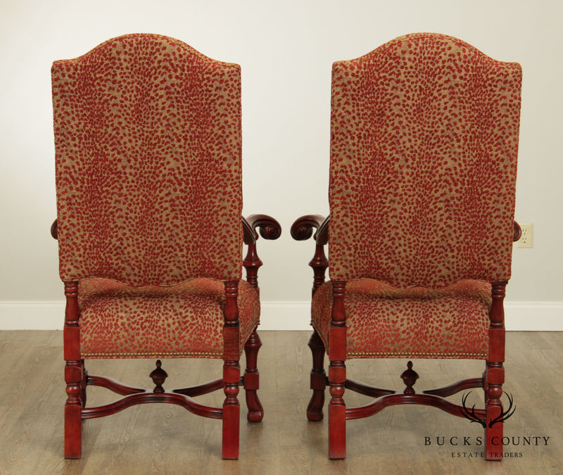 Massoud Baroque Style Large Pair Armchairs
