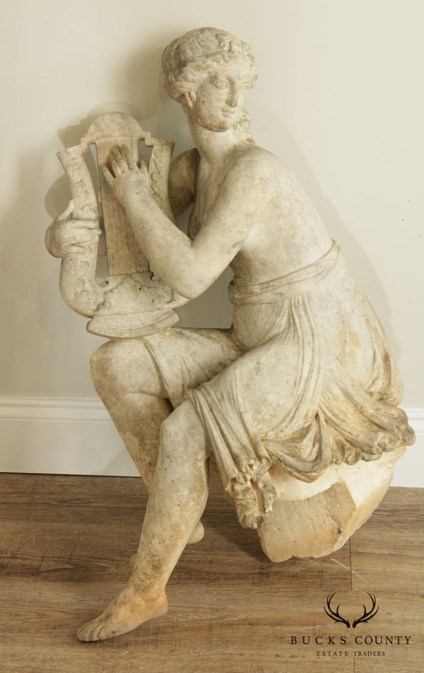 Antique 19th Century Marble Garden Statue, Goddess Playing Harp