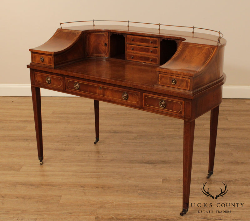 Vintage Mahogany Hepplewhite Style Carlton House Writing Desk