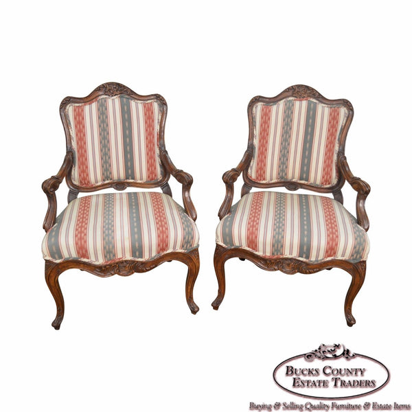 Quality Pair of Carved Walnut Rococo Style Arm Chairs Fauteuils