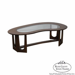 Mid Century Modern Walnut Boomerang Glass Top Coffee Table