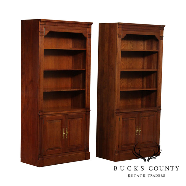 Stickley Solid Cherry Pair Tall Bookcases