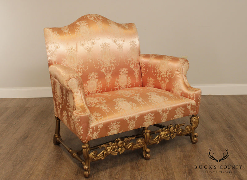 Antique Italian Giltwood Baroque Carved Settee Loveseat