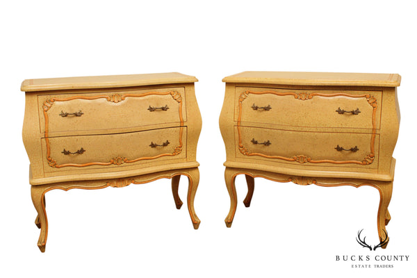 French Louis XV Style Vintage Custom Painted Pair Bombe Commodes, Nightstands