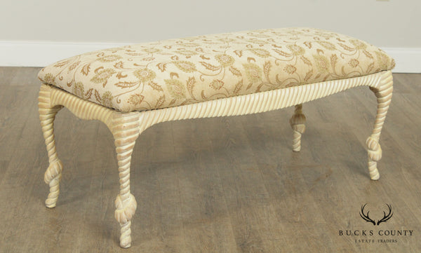 Quality Rope & Twist Carved Cerused Wood Bench