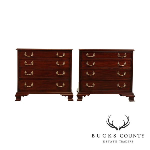 Henkel Harris Chippendale Style Pair Mahogany Bedside Chests (Style # 188)