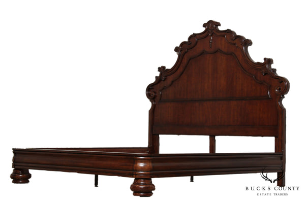 Rococo Style High Back Cherry King Size Bed