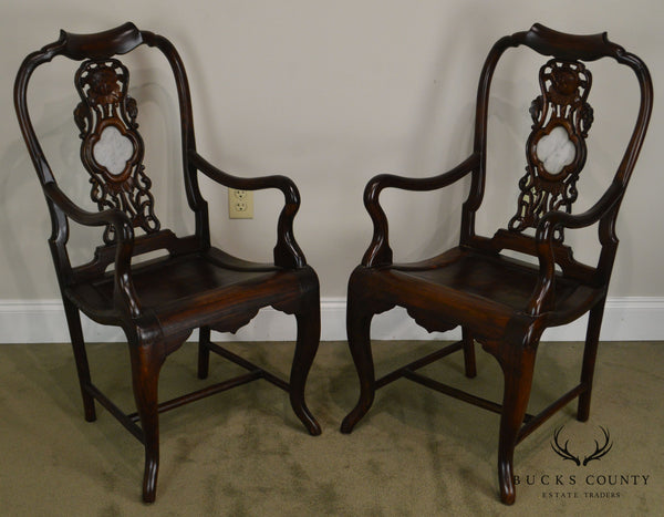 Asian Hardwood Pair of Vintage Carved Arm Chairs with Marble Medallions