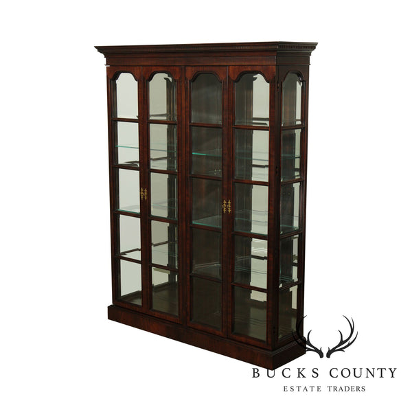 Quality Large Beveled Glass Mahogany 4 Door Display Curio Cabinet