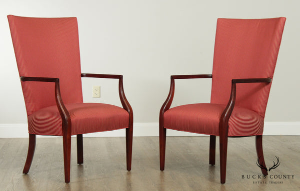 Ethan Allen Traditional Pair High Back Armchairs