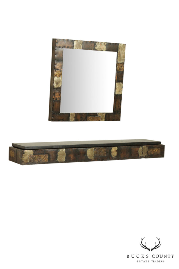 Paul Evans Patchwork Wall Mounted Wall Console and Mirror