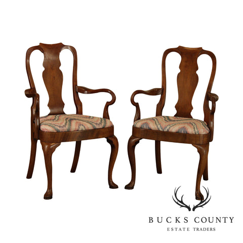 Hickory Chair Vintage Amber Mahogany Pair Queen Anne Armchairs