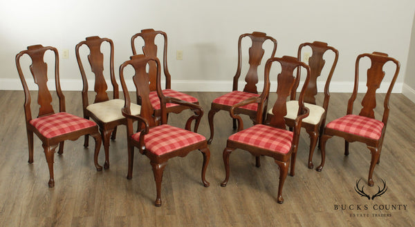 Henredon 18th Century Portfolio Vintage Set 8 Walnut Dining Chairs