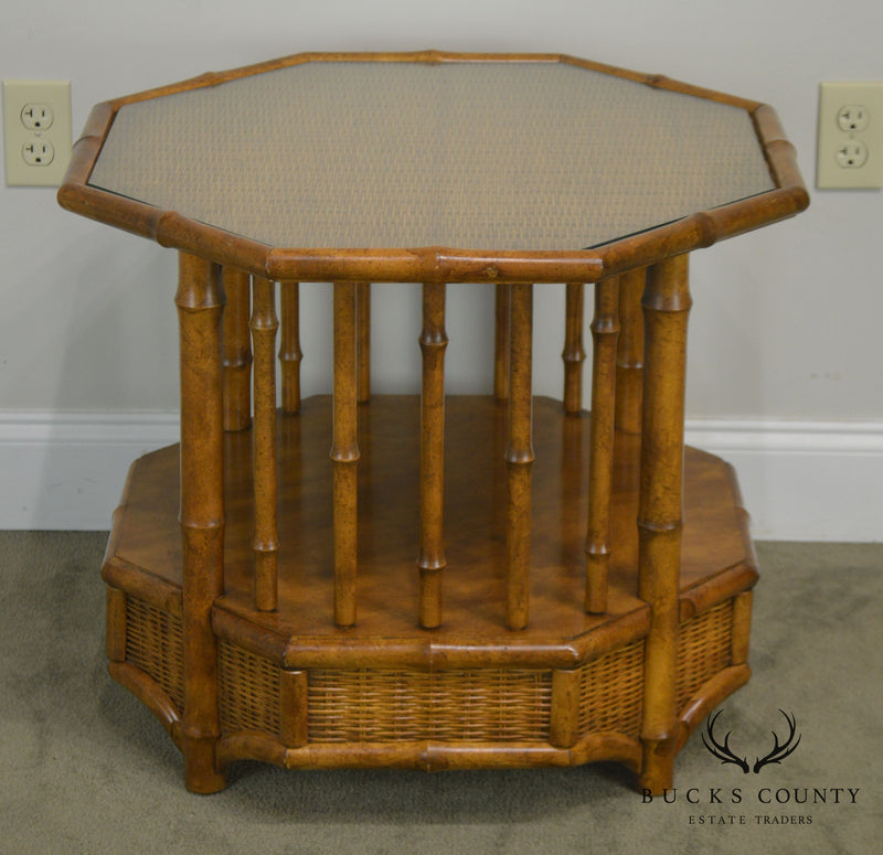 Faux Bamboo Octagon Wicker Top Side Table