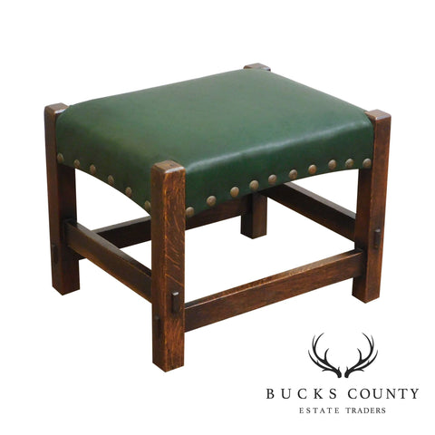 Gustav Stickley Antique Oak Leather Seat Footstool