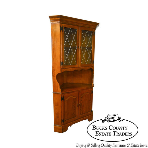 Ethan Allen Vintage Maple Leaded Glass Corner Cabinet