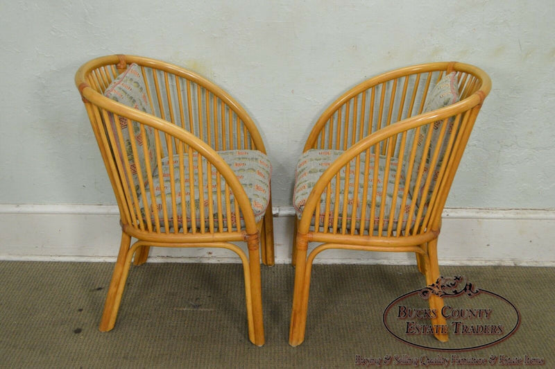 McGuire Style Pair of Rattan Bamboo Curved Back Arm Chairs