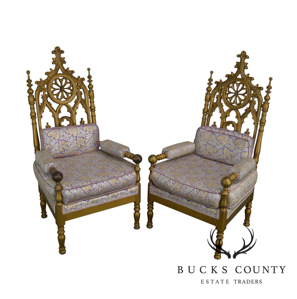 Gothic Style Antique Pair Of Gold Painted Walnut Throne Arm Chairs (A)