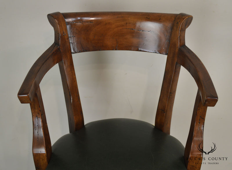 Guy Chaddock & Co. Hartford Pair Leather Seat Swivel Bar Stools