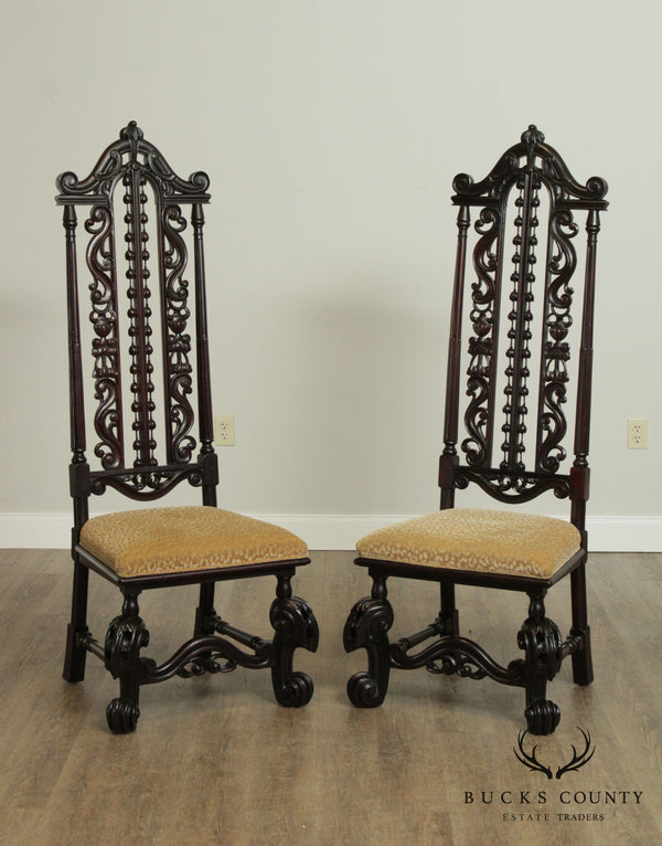 Charles II Antique Pair Jacobean Renaissance Revival Carved Mahogany Pair Carved Chairs