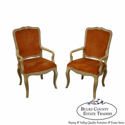 Quality Pair of Paint Frame French Country Style Arm Chairs by Baker