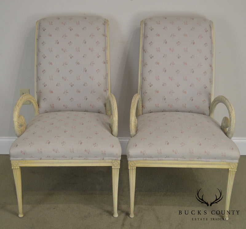 Grosfeld House 1940's Hollywood Regency Pair Carved Armchairs